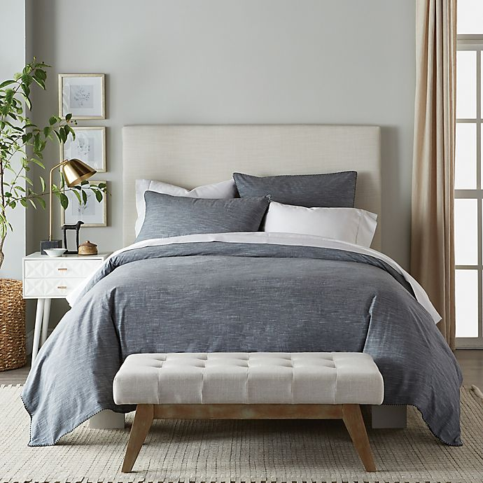 Alternate image 1 for Canadian Living Textured Stria 3-Piece King Duvet Cover Set in Grey