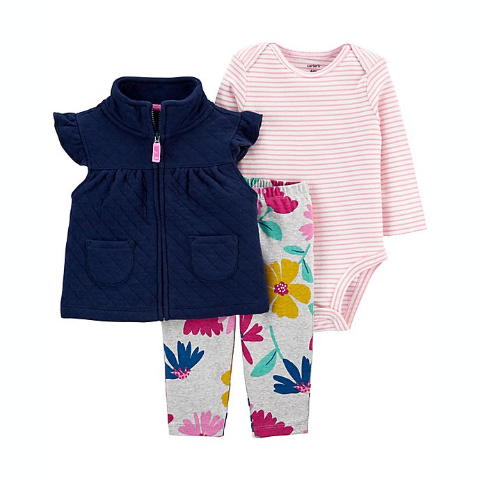 Alternate image 1 for carter's® 3-Piece Floral Quilted Vest, Long Sleeve Bodysuit and Pant Set