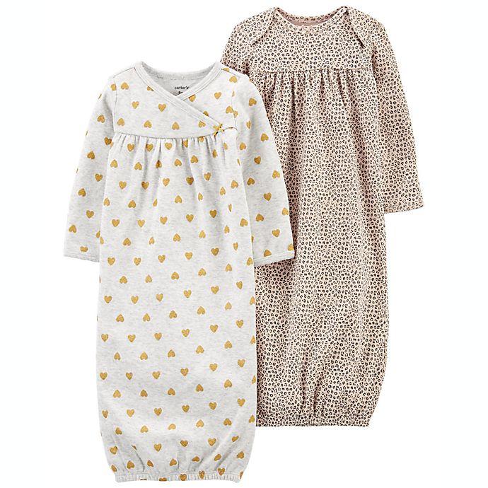 Alternate image 1 for carter's® 2-Pack Animal Glitter Sleeper Gowns
