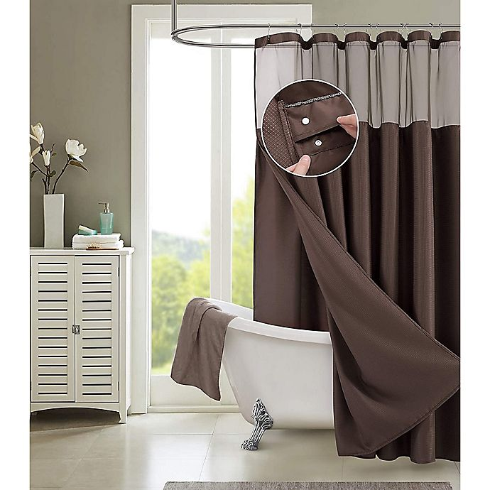 Alternate image 1 for Dainty Home 70-Inch x 72-Inch Waffle Shower Curtain and Liner Set in Brown