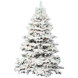 Vickerman Flocked Alaskan Pine Pre-Lit Christmas Tree with Clear Lights