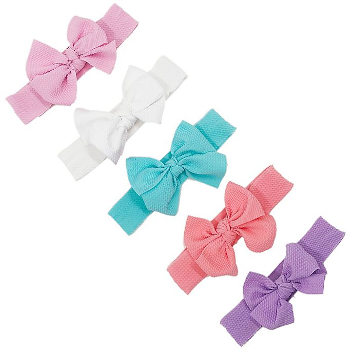 Alternate image 1 for Curls & Pearls 5-Pack Assorted Waffle Bow Elastic Headbands