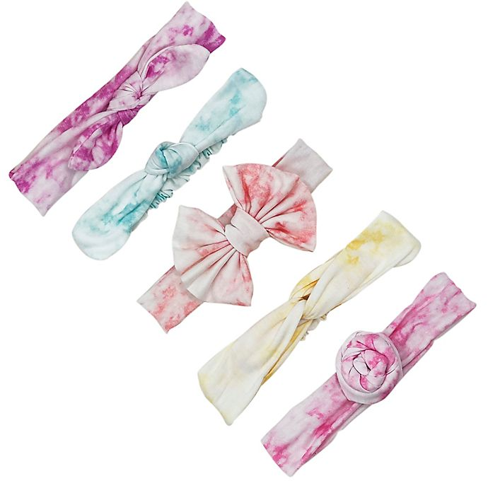 Alternate image 1 for Curls & Pearls 5-Pack Tie Dye Assorted Elastic Headbands