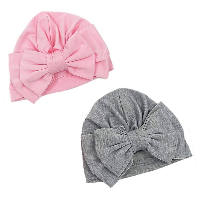 Alternate image 1 for Curls & Pearls Size 12M 2-Pack Double Bow Turban in Pink/Grey