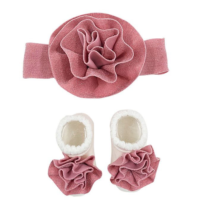 Alternate image 1 for Curls & Pearls Flower Headband and Socks Set in Mauve