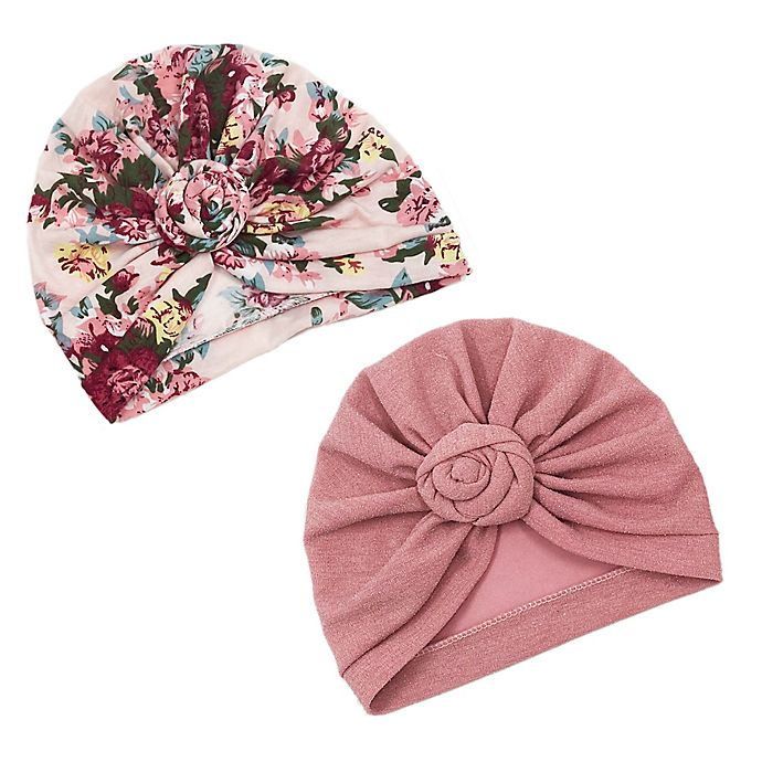 Alternate image 1 for Curls & Pearls 2-Pack Knot Turban Hats in Mauve