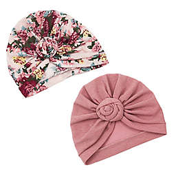 Curls & Pearls 2-Pack Knot Turban Hats in Mauve