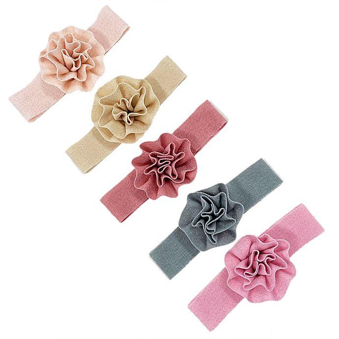 Alternate image 1 for Curls & Pearls 5-Pack Swirled Flowers Elastic Headbands