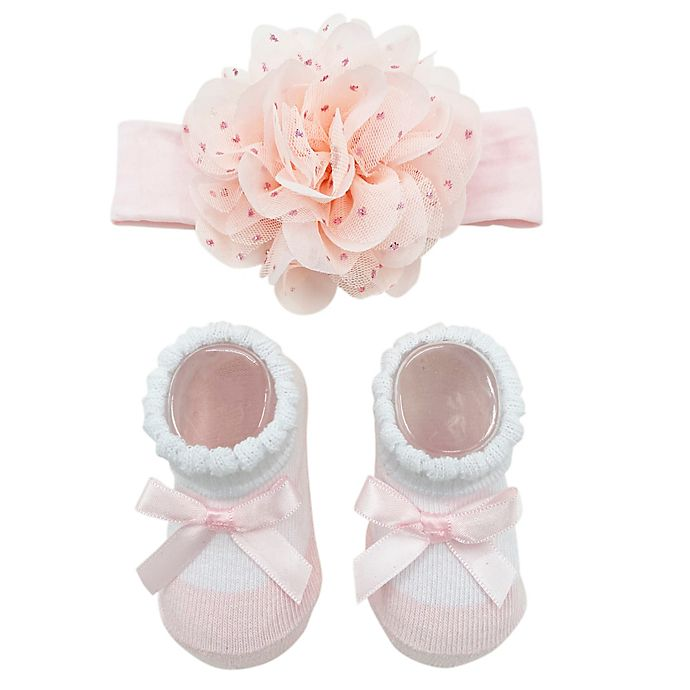 Alternate image 1 for Curls & Pearls Tulle Flower Headband and Socks Set in Pink/Gold