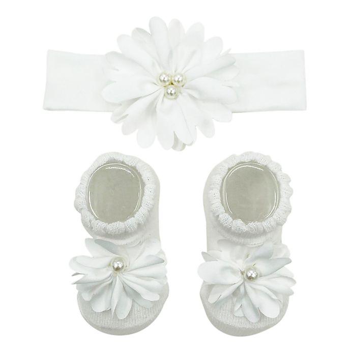 Alternate image 1 for Curls & Pearls Satin Flower Headband and Socks Set in White