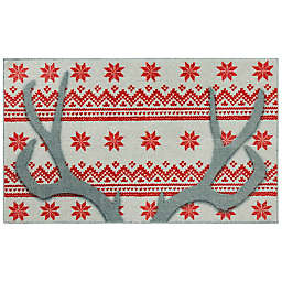 """Mohawk Home® 2'6"""" x 4'2"""" Prismatic Holiday Antlers Scatter in Red"""