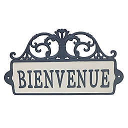 Bee & Willow™ Home Bienvenue Cast Iron Wall Sign in Blue/White