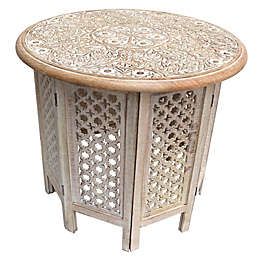 Cutout Octagonal Folding Table in White/Brown
