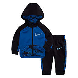 Nike® Therma Size 6-9M 2-Piece Colorblock Hoodie and Pant Set in Blue/Black