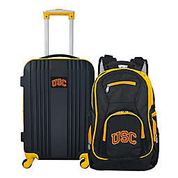 University of Southern California Backpack and 21-Inch Hardside Spinner Carry On Luggage Set