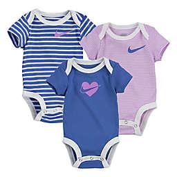 Nike Size 6M 3-Pack Swoosh Logo Bodysuits in Blue/Pink