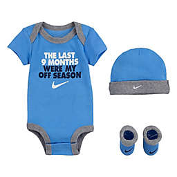 Nike® Size 0-6M 4-Piece Short Sleeve Bodysuit, Hat and Bootie Set in University Blue