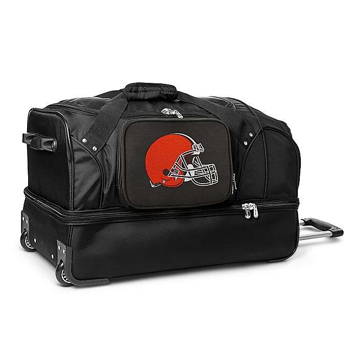 Alternate image 1 for NFL Cleveland Browns 27-Inch Drop Bottom Wheeled Duffel Bag