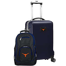 University of Texas at Austin 2-Piece Carry On and Backpack Luggage Set in Silver