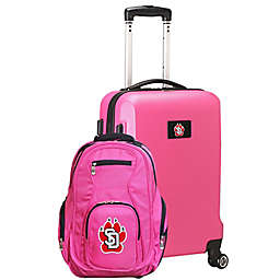 University of South Dakota 2-Piece Carry On and Backpack Luggage Set in Pink