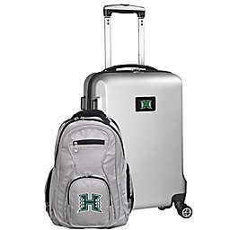 University of Hawai'i at Manoa 2-Piece Carry On and Backpack Luggage Set in Silver