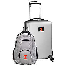 University of Illinois 2-Piece Carry On and Backpack Luggage Set in Silver
