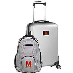 University of Maryland 2-Piece Carry On and Backpack Luggage Set in Silver