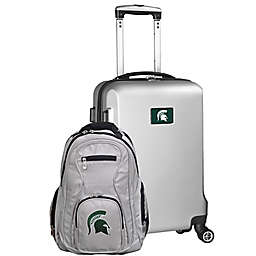 Michigan State University 2-Piece Carry On and Backpack Luggage Set in Silver