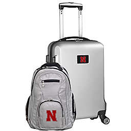 University of Nebraska 2-Piece Carry On and Backpack Luggage Set in Silver
