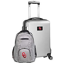 University of Oklahoma 2-Piece Carry On and Backpack Luggage Set in Silver