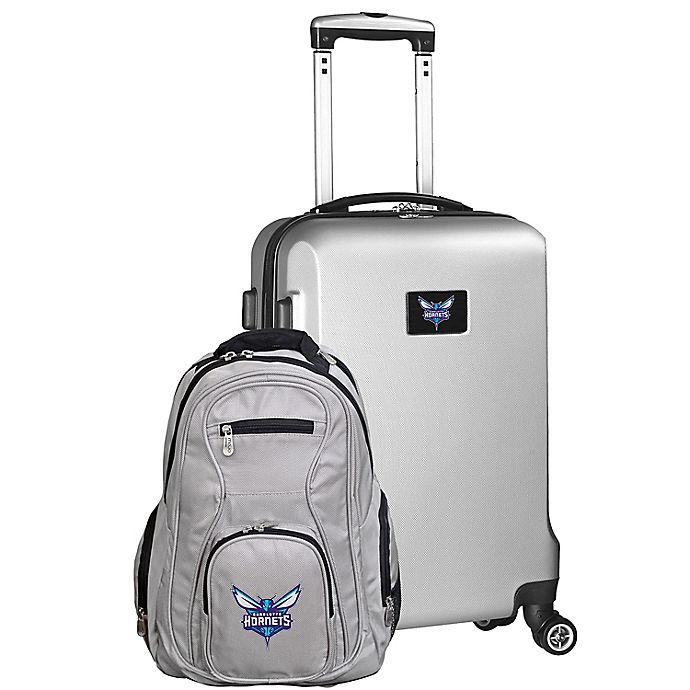 Alternate image 1 for NBA Charlotte Hornets 2-Piece Backpack and Carry On Luggage Set in Silver
