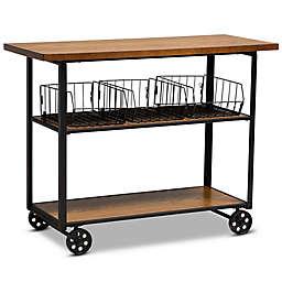 Baxton Studio Howard Kitchen Console Cart in Walnut Brown/Black