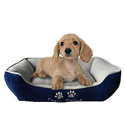 Style Quarters Furry Friend Small Rectangular Dog Bed in Blue/Grey