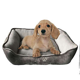 Style Quarters Furry Friend Small Rectangular Dog Bed in Grey