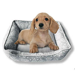 Style Quarters Love Paws Small Rectangular Dog Bed in Grey