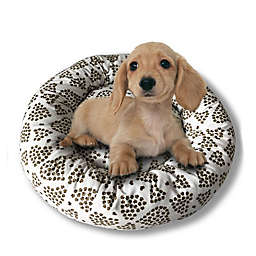 Style Quarters Love Paws Small Round Dog Bed in Cream