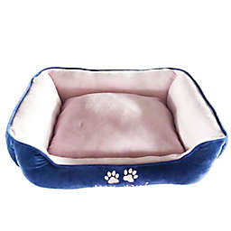 Style Quarters My Pal Cuddle Small Rectangular Dog Bed in Blue/Pink