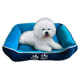 Style Quarters Paw Small Rectangular Dog Bed in Blue/White