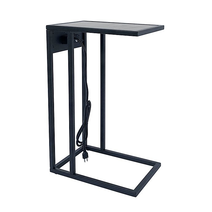 Alternate image 1 for C-Shaped Accent Table with Charging Station in Black