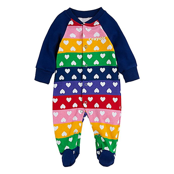 Alternate image 1 for Crayola® Heart Stripe Footie in Navy/Pink