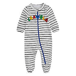 Crayola® Size 6M Creature & Stripe Footie in White