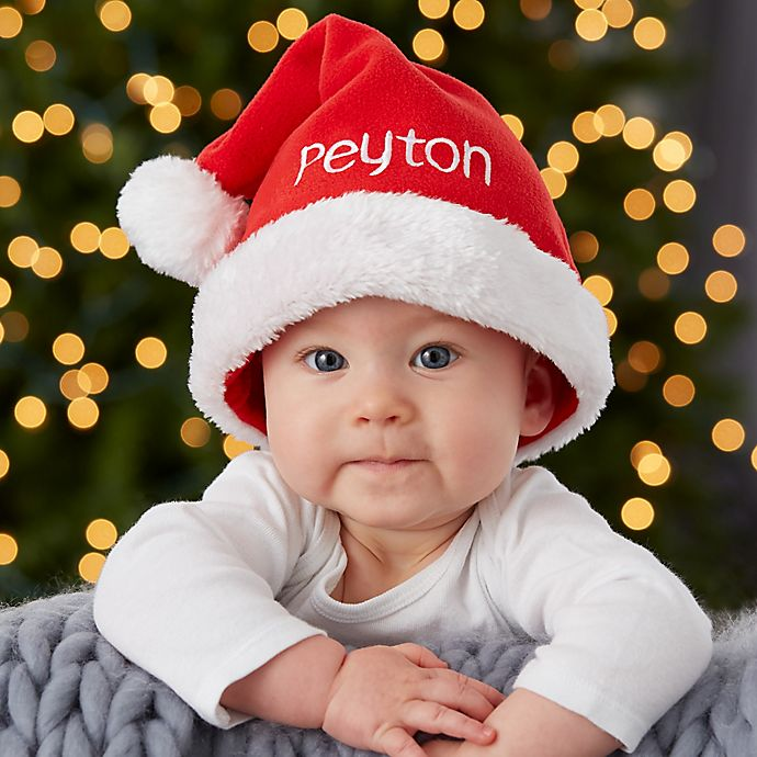Alternate image 1 for Infant Classic Fleece Personalized Baby Santa Hat in Red
