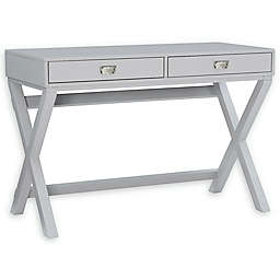 Linon Home Peggy X-Frame Writing Desk in Grey
