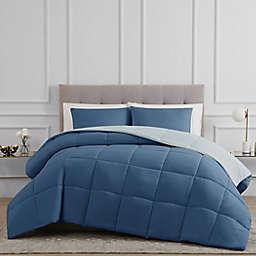Solid 2-Piece Reversible Twin Comforter Set in Blue