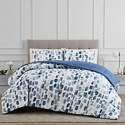 Reversible 3-Piece Brushstroke King Comforter Set in Blue