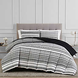 Reversible 3-Piece Stripe Full/Queen Comforter Set in Black/White