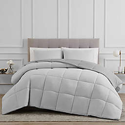 Solid 2-Piece Reversible Twin Comforter Set in Grey