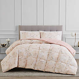 Reversible 3-Piece King Comforter Set in Pink