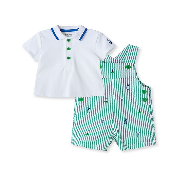 Alternate image 1 for Little Me® 2-Piece Golf Shortall and Shirt Set in Green