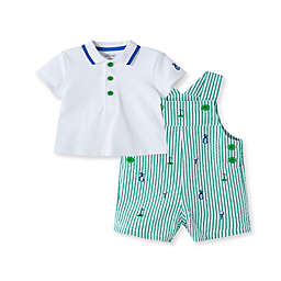 Little Me® 2-Piece Golf Shortall and Shirt Set in Green